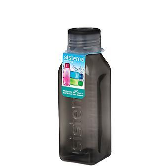 Sistema-Hydrat 475ml quadratische Trinkflasche, schwarz