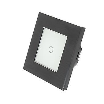I LumoS Black Brushed Aluminium 1 Gang 1 Way WIFI/4G Remote & Dimmer Touch LED Light Switch White Insert