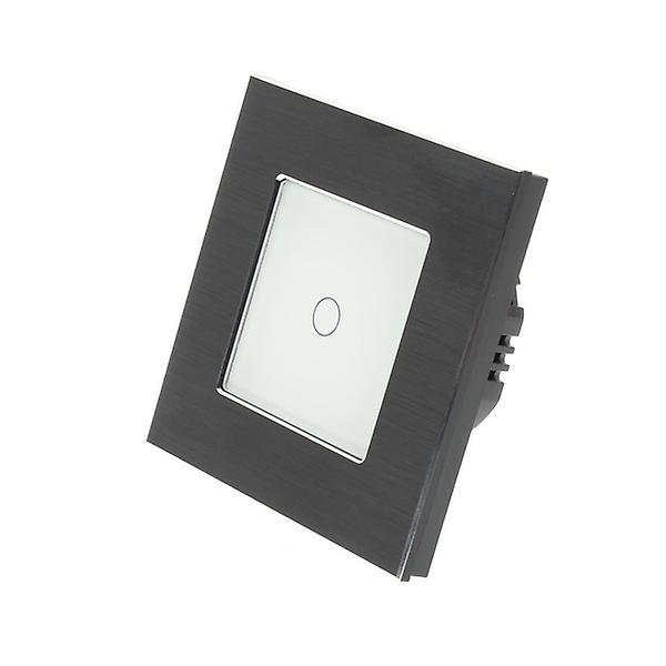 I LumoS Black Brushed Aluminium 1 Gang 1 Way Touch LED Light Switch White Insert