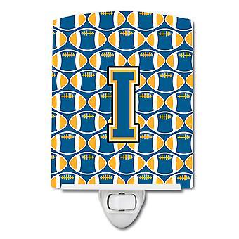 De letter I voetbal blauw en goud keramische nachtlampje