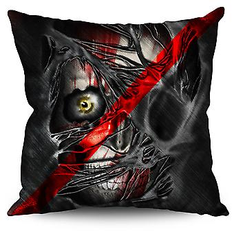 Eye Skeleton Rock Skull Linen Cushion 30cm x 30cm | Wellcoda