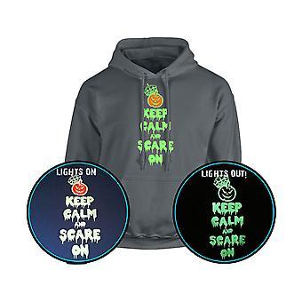 Hålla lugn och skrämma på Halloween GLOW IN THE DARK Unisex Hoodie 10 färger (S-5XL) genom swagwear