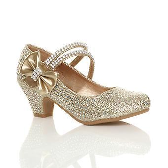 Ajvani flickor låg häl part bröllop mary jane style krok & slinga sandaler skola skor