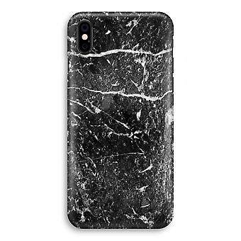 أي فون X كامل طباعة القضية (لامع)-الرخام الأسود