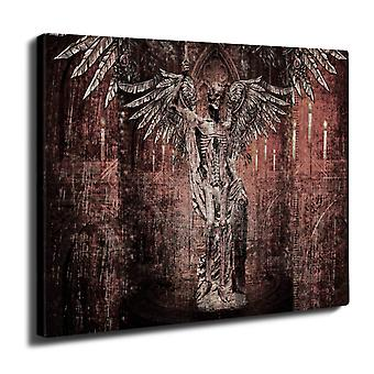 Angel Skeleton Rock Wall Art Canvas 40cm x 30cm | Wellcoda