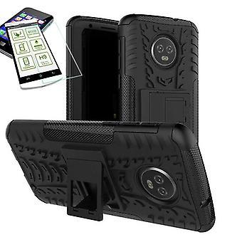 For Motorola Moto G6 plus hybrid case 2 piece black + tempered glass bag case cover sleeve