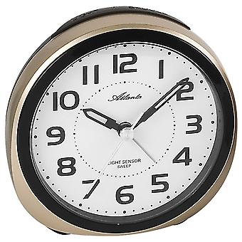 Atlanta 1954/9 alarm clock quartz analog golden quietly without ticking with light Snooze