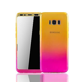 Samsung Galaxy S8 Plus Handyhülle Schutzcase Full Cover 360 Displayschutz Folie Gelb / Pink
