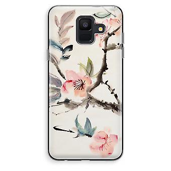 Samsung Galaxy A6 (2018) Transparent fodral (Soft) - Japenese blommor
