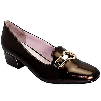 Ladies Chunky Heel Patent Gold Buckle Slip On Women's Smart Shoes Loafers