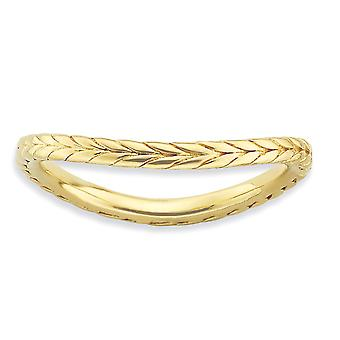 1.5mm 925 Sterling Silver Patterned Stackable Expressions Polished 14k Gold Plated Wave Ring Jewelry Gifts for Women - R