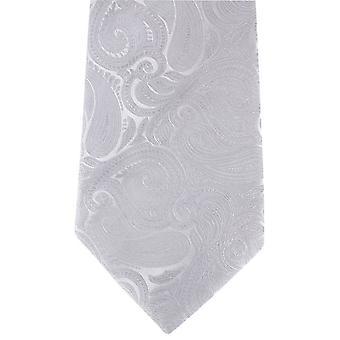 David Van Hagen Large Paisley Tie - Silver