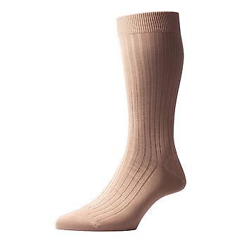 Pantherella Danvers Rib katoen sokken in Schotse draad - Ligh Khaki