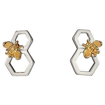 Elements Silver Honeycomb Platting Earrings - Silver/Gold