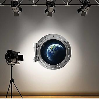 Full Colour Earth Space Porthole Wall Sticker