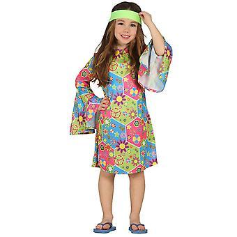 Girls 70s Hippie Fancy Dress kostym