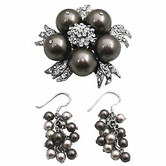 Swarovski Brown parels broche speld & oorbellen Set bruiloft