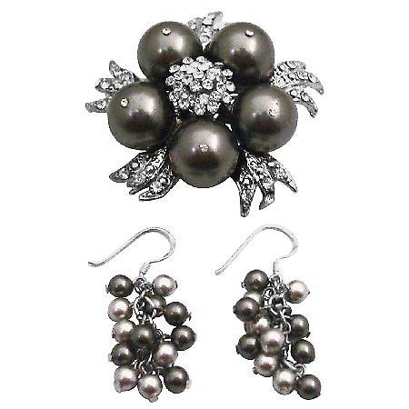 Braun Swarovski Perlen Brosche Pin & Ohrringe Hochzeit Set