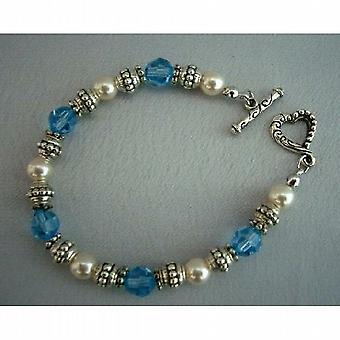 Swarovski Crystals & parels w / geoxideerd 7 inch armbanden