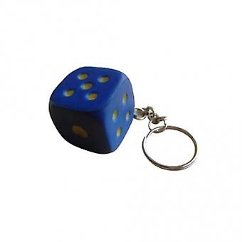 Key ring/Key chain with dice (blue)