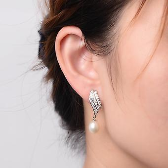 925 Sterling Silver Flame Drop Aaaaa Cz Pearl Earrings
