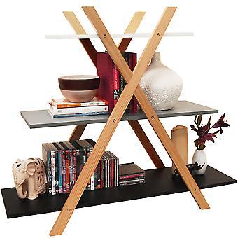 Avone - nivel 3 Retro madera Cruz X marco almacenamiento estante librería - blanco / gris / negro