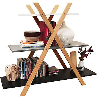 Avone-retro 3 Tier fa Cross X frame Storage polc könyvespolc-fehér/szürke/fekete