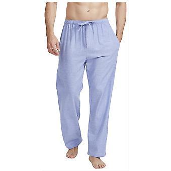 British Boxers Staffordshire Herringbone Flannel Pyjama Trousers - Blue