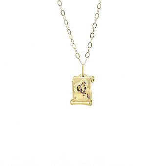Eternity 9ct Gold Scroll St. Christopher Pendant And 16'' Trace Chain