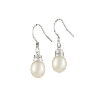 Ewige Sammlung Trost weißen Süßwasser Perlen Sterling Silber Tropfen Ohrhänger