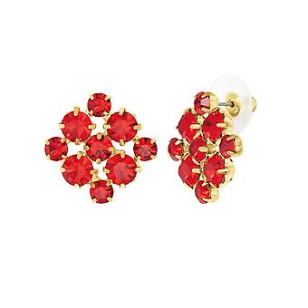 Eternal Collection Joyeux Light Siam Red Crystal Gold Tone Stud Pierced Earrings