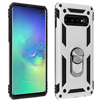 Samsung Galaxy S10 Plus Case Bi Material Rigid Soft Magnetic Ring Stand Argent
