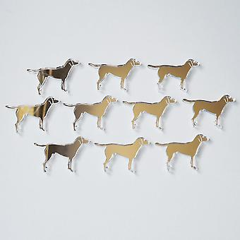 Standing Working Labrador Dog Mini Craft Sized Acrylic Mirrors (10Pk)