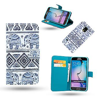 Samsung Galaxy S6 Edge Leather Case/Wallet-Elephants