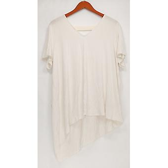 Lisa Rinna Collection Women's Top V-Neck Top w/ Chiffon Ivory A303168 PTC