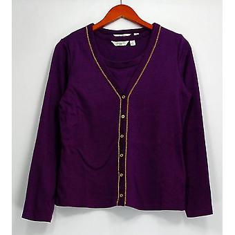 Liz Claiborne New York Sweater V-Neck Twin Cardigan Set Purple A217802