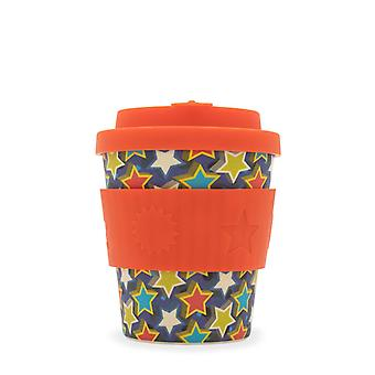 Ecoffee Eco-Friendly 8oz 240ml Reusable Natural Bamboo Fibre Tea & Coffee Cups With Silicone Lid Top For Travel & Home - Various Colours