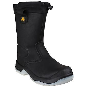 Amblers Safety Mens FS209 Water Resistant Pull On Safety Rigger Boot Black