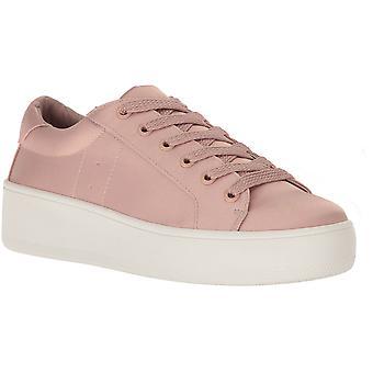 ستيف مادن المرأة & أبوس؛ق منصة أعلى منخفضة الدانتيل المنبثقة أحذية رياضية أحذية رياضية في الساتين الوردي