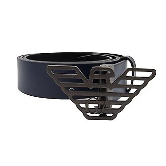 Emporio Armani Large Eagle Buckle Belt Blue