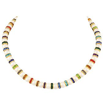 Eternal Collection kaleidoskop flerfarget Crystal Shell perle gull tone statement halskjede