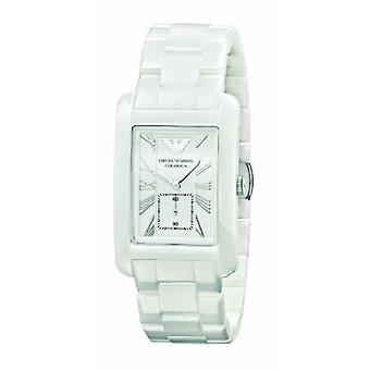 Emporio Armani Ar1408 Gents White Ceramic Rectangle White Dial Watch