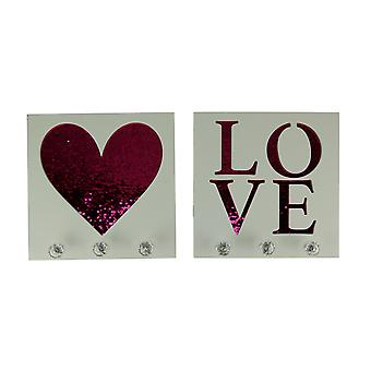 White Wood Pink Sequins Heart and Love Wall Hook Plaques 2 Piece Set