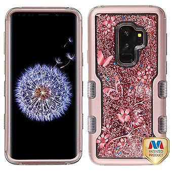 MYBAT Rose Gold/Butterflies & Rose Gold Sparkles Liquid TUFF Quicksand Glitter Hybrid Case for Galaxy S9 Plus