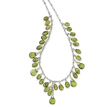 925 Sterling Silver Fancy Lobster Closure Green Crystal Peridot Necklace 16 Inch Lobster Claw Jewelry Gifts for Women