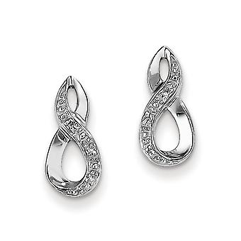 925 Sterling Silver Polished Rhodium Diamond Post Earrings Jewelry Gifts for Women - .02 dwt