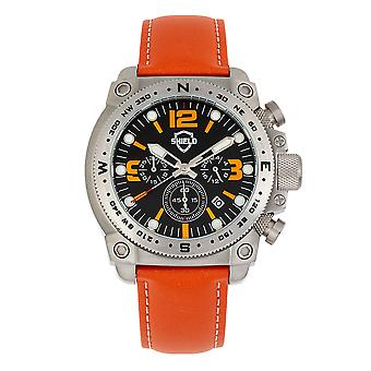 Shield Tesei Chronograph Leather-Band Men's Diver Watch w/Date - Silver/Orange