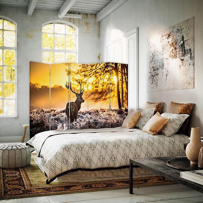 Diviseur de chambre, 5 panneaux, double-sided, toile, coucher du soleil de cerf