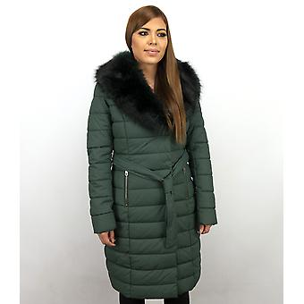Long Winter Coat Parka - With Black Faux Fur Collar - Green