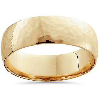7mm 14k giallo oro High lucido martellato Mens Wedding Band